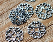 Antiqued Silver  plated RAW brass Filigree  Jewelry Connectors Setting Cab Base Connector Finding  (FILIG-AS-13)