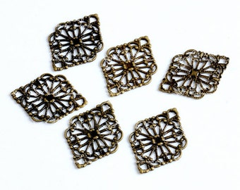 10pcs Antique Bronze plated RAW brass Filigree  Jewelry Stampings Connectors Setting Cab Base Connector Finding  (FILIG-B-2)