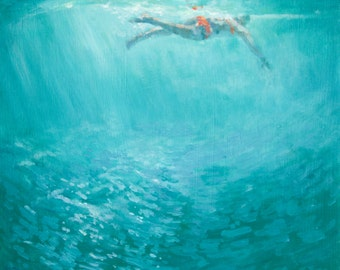 She went Swimming Archival Print of Original Painting Swimmer in cobalt turquoise green sea Waters