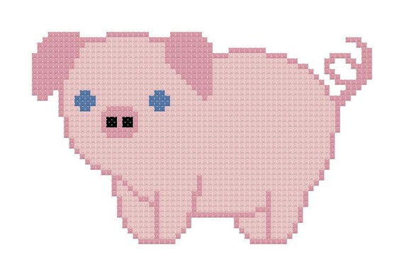 Farm Cross Stitch Pattern Of Cute Farm Animals Cow Pig