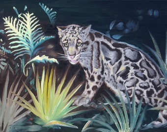 Clouded Leopard painting by RUSTY RUST wildlife animal 24x36 oils on canvas / L-174