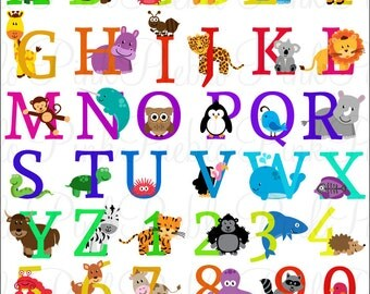 Animal Alphabet, Font with Safari Jungle Zoo Animals, Uppercase and Numbers - Commercial and Personal Use
