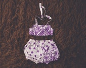 Cake Smash Outfit One Year Old Girl Bikini Cake Smash Set Purple Flower Polka dots