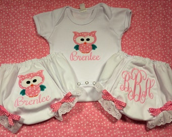 Pink Polka Dot Owl with Bow Onesie, Burp Cloth, Bib, Bloomers