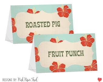 Hawaiian Luau Food Tent Cards - Food Labels - Print Your Own
