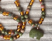 Green and gold unakite necklace, carved bear pendant, natural stone, choker necklace FREE shipping