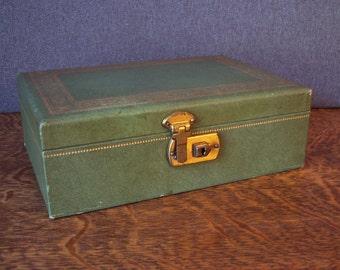 Vintage Mid Century Leatherette Mele Style Jewelry Jade Green