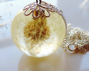 Dandelion Necklace, Make A Wish, Eco Resin, Orb Necklace, Botanical Necklace, Resin Pendant, Nature Jewelry, Jewelry for Women