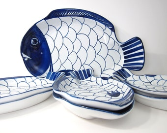 DANSK Arabesque Fish Platter Set - Serving Dinner Plates - Modern Dishes Dinnerware