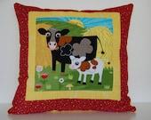 SALE, Barnyard Pillows, Farm, Kids Bedding, Cow