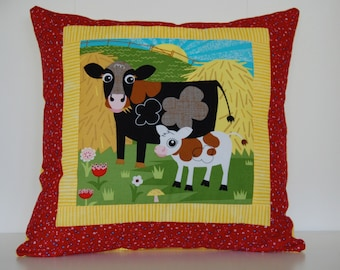 SALE, Barnyard Pillows, Farm, Kids Bedding, Cow