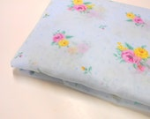 Daisy Kingdom May Rose Floral, 1 yd Sewing Material, Sheer Blue Floral Fabric