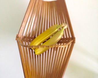 Vintage 70s Bamboo Basket - Boho Foldable Stand - Mid Century Wood