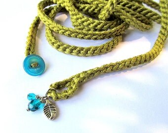 Crochet wrap bracelet or necklace in light olive with charms, cuff bracelet, bohemian style, crochet jewelry, fiber jewelry, spring fashion