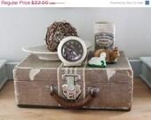 "SHOP SALE Vintage Shabby Paper ""Tweed"" Suitcase"