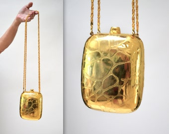 Vintage Gold Metal Evening Bag Hard Case// Vintage Gold Metal Hard Box Evening Bag// Gold Wedding Clutch purse