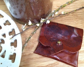 OOAK Russet Brown Shiny Leather Earphone or Earbud Pouch with Patterning or Just a Cute Pouch. Antique Brass Coloured Rivet Closure. Eco
