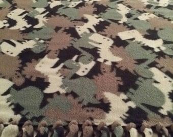 Dinosaur Camouflage  Fleece Blanket