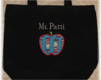 TEACHER Personalized Tote bag Cat in The Hat Dr Seuss large black canvas Back to School preschool kindergarten daycare gift idea