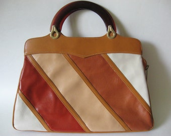 Super striped vintage vinyl purse handbag Cabrelli Canada plastic handle convertible