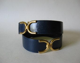 80s vintage Mondi Germany blue leather belt gold buckle and equestrian hardware detail sz 45 M