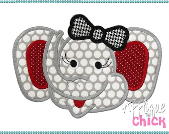 Elephant Girl Applique Design