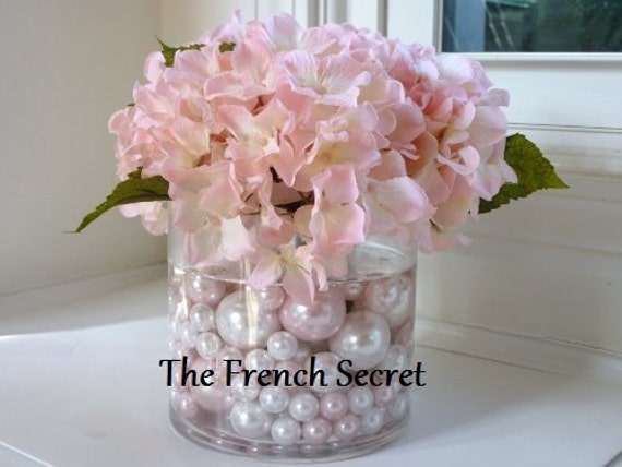 Chic wedding blush pink pearl vase filler floral centerpiece
