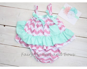 CLEARANCE ....Swing Top, Bloomers and Matching Headband...Hot pink with White Polka Dots, Summer outfit, Ruffle Bloomers