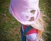 Pink spring girls bucket hat with flower, spring sunhat, cotton spring sunhat, baby girl bucket hat, toddler bucket hat, toddler sunhat