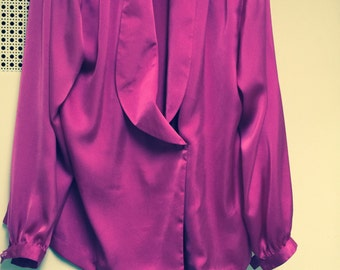 Satin blouse by Halston 80s designer/Long sleeve button front medium large