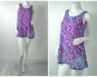 90s pink purple Sand N Sun mesh sheer beach cover up tunic dress