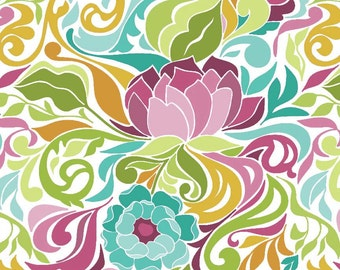 Halle Floral Teal  c4181-Teal  - HALLE ROSE COTTONS by Lila Tueller -  Riley Blake Designs Fabric - By the Yard