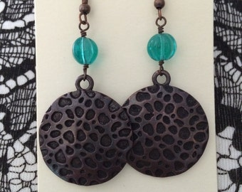 Dimpled antiqued copper and teal pendant earrings// bronze earrings//