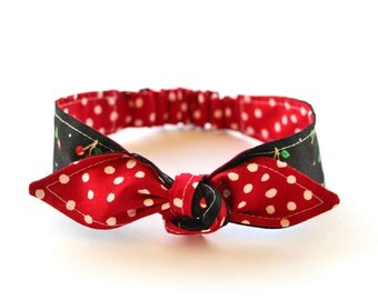 Baby Toddler Pre-tied Head Scarfs Red Polka Dots over Black with Cherries Baby Headband Hair Accessory