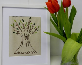 Personalized Family Tree Embroidered Wall Art. 11X14. Mother's Day Gift. Birthday Gift. Gift for Grandma. Grandparents. Gift for Parents.