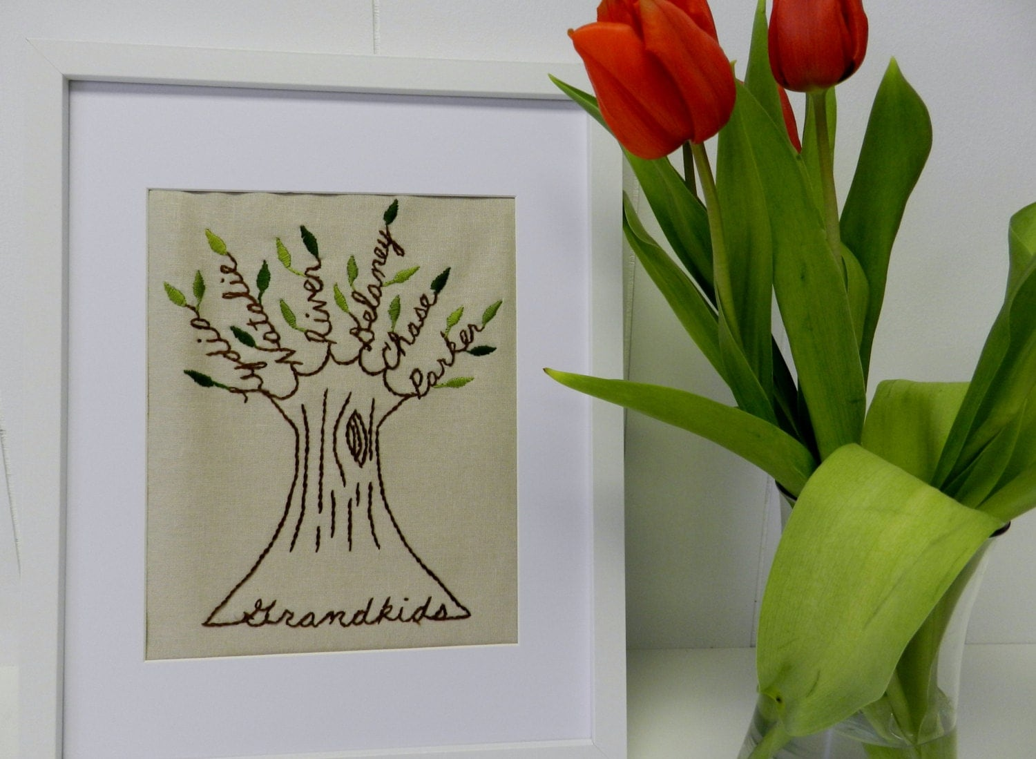 personalized family tree embroidered wall art 11x14. Black Bedroom Furniture Sets. Home Design Ideas