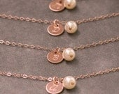 Handstamped Initial Bracelet Rose Gold, Pearl Bracelet, Personalized Jewelry, Set of 4, Rose Gold Bridal Jewelry