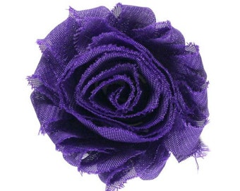 """Purple 2"""" Shabby Rose Flower"""