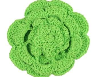 """3"""" Four Level Lime Green Crochet Flower"""