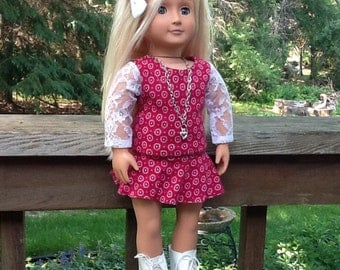 18 Inch Doll Clothes Red and White Skirt and Shirt Outfit with Rollerskates for doll like American Girl,  girls gifts, girls toys