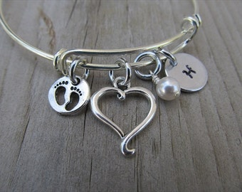 Mother's Bracelet- New Mother Gift, Expectant Mother Gift, Baby Shower Gift- Baby Feet Charm, Heart Charm, Initial, and accent bead