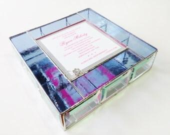 Stained Glass Keepsake Bat Mitzvah Invitation Gift Box Jewely Box 9x9x2 Graduation Birthday Gift Custom Made-to-Order