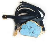 Turquoise Leather Wrap Bracelet (Black)-turquoise bracelet, leather bracelet, boho