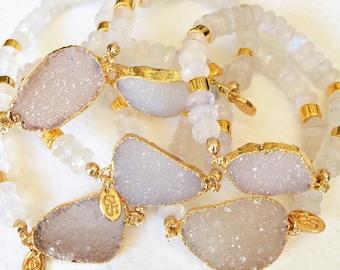 Love Angel Moon Bracelet-beaded bracelet, moonstone, druzy bracelet, white bracelet