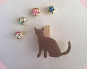 Wooden clips fridge magnet-Cat shaped faux leather refrigerator magnet