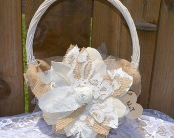 Burlap Flower Girl Basket, PERSONALIZED Flower Girl Basket, Flower girl basket, burlap and lace flower girl basket, Wood Heart Flower Basket