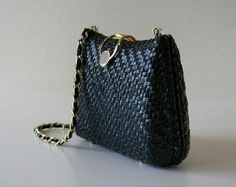 Vintage Black Faux Leather shoulder Bag,Woven Hard Shell, Hong Kong
