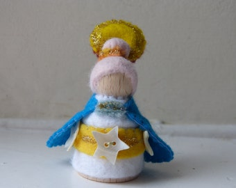 Summer Sun Fairy Gnome, nature table decoration, peg doll gnome with wool felt