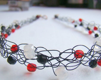 Moonstone, Black and Red Wire crochet necklace, Black Red White Casual Everyday Necklace, Crochet Wire Jewelry, Boho Necklace