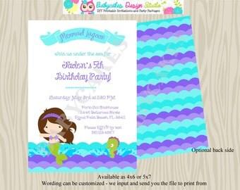 Mermaid Invitation Birthday Mermaid inivte party Under the sea birthday invite - Choose your mermaid